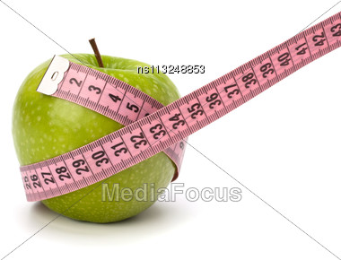 Apple With Tape Measure Isolated On White Background. Healthy Lifestyle Concept Stock Photo