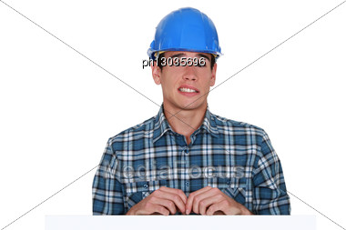 Apprehensive Builder Stock Photo