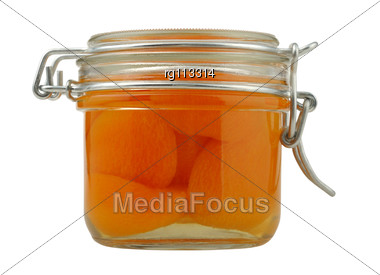 Apricot Jam In A Glass Jar Stock Photo