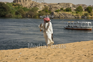 An Arab Sells Beads Along The Nile In Egypt Stock Photo