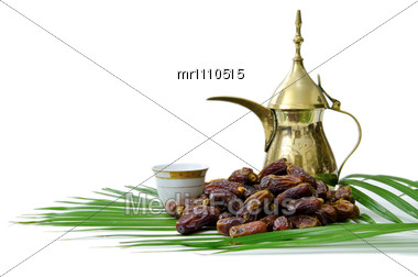 Arabic Coffee With Dates Fruit Stock Photo