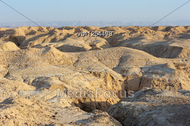 Arava Desert (southern Israel) In The First Rays Of The Sun Stock Photo