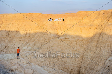 Arava Desert (southern Israel) In The Last Rays Of The Sun Stock Photo