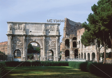 Arch of Constantine, The Colosseum, Rome Stock Photo