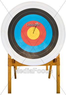 Archery Target With Arrows In The Center Stock Photo