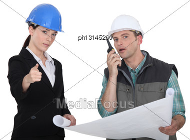 Architect And Foreman Stock Photo
