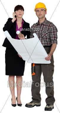 Architect And Surveyor Stock Photo