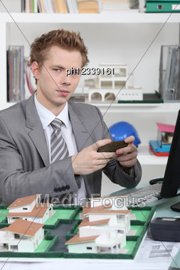 Architect In His Office. Stock Photo