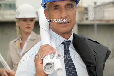 Architects On Site Stock Photo