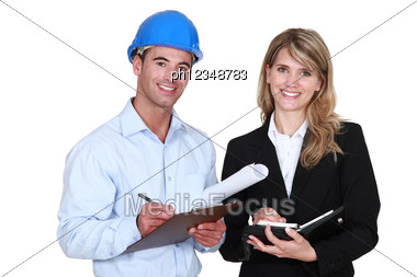 Architects With Diary And Clipboard Stock Photo