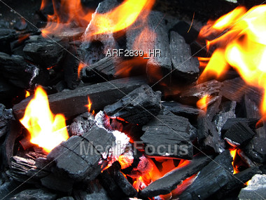 charcoal flames hot Stock Photo