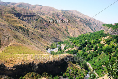 Armenian Landscape With Mountains, River, Rocks And Forest. Stock Photo