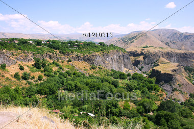 Armenian Landscape With Mountains And Village. Stock Photo