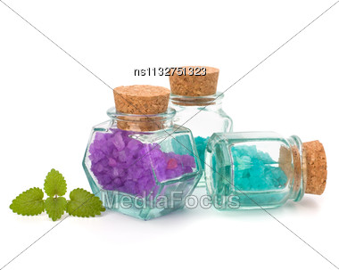 Aromatic Natural Mineral Salt Isolated On White Background Stock Photo