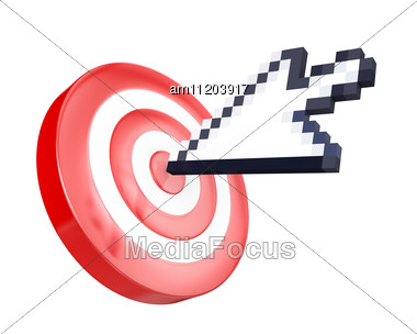 Arrow Cursor Hits The Target Stock Photo