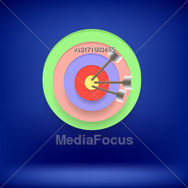 Arrow Hit Right On Target. Target Concept On Blue Background. Achieving Goal Stock Photo