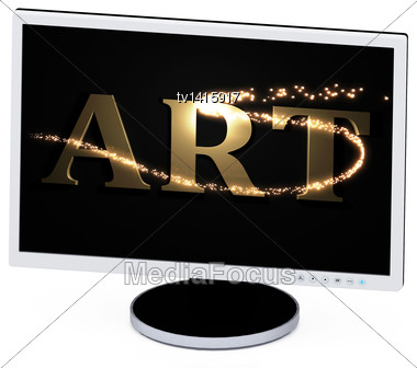 ART - 3d Inscription With Luminous Spark On Screen Of The Computer. Concept-illustration Stock Photo