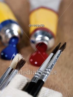 Art Still Life On The Wooden Palette Stock Photo
