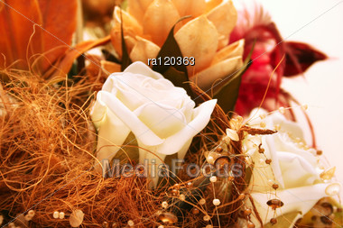 Art White Roses And Beads. Stock Photo