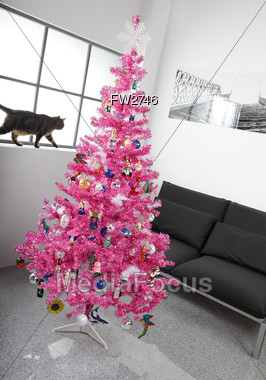artificial pink christmas tree stock photo - Pink Christmas Trees
