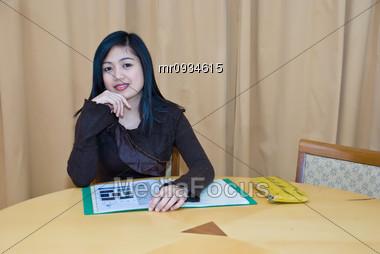 Asian Secretary Stock Photo