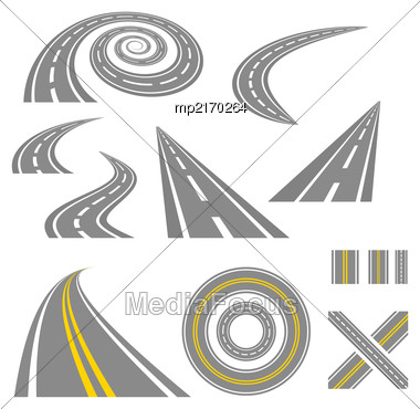 Asphalt Curved Roads. Highway Vector Illustration Set Stock Photo