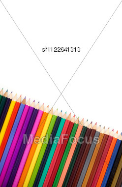 Assortment Of Coloured Pencils With Shadow Stock Photo