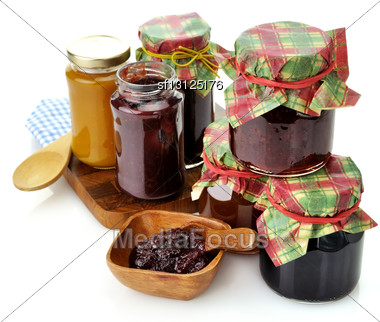 Assortment Of Homemade Jam In The Glass Jars Stock Photo