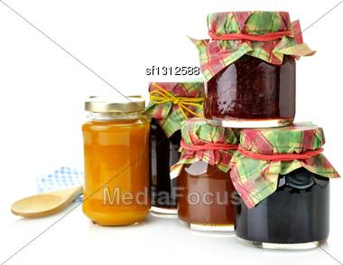 Assortment Of Homemade Jam In The Glass Jars Stock Photo