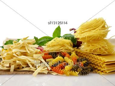 Assortment Of Italian Pasta , Close Up Shot Stock Photo