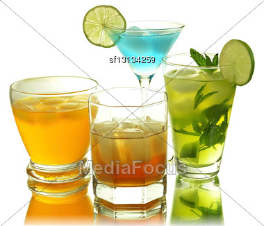 Assortment Of Cold Drinks Stock Photo