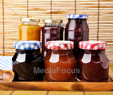 Assortment Of Jam In The Glass Jars Stock Photo