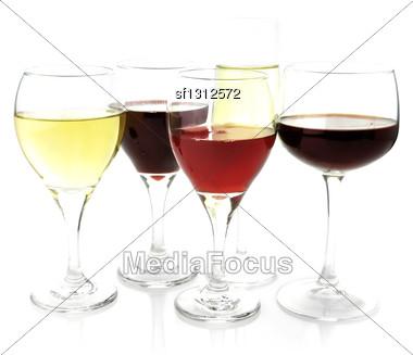 Assortment Of Wine Glasses ,Close Up,On White Background Stock Photo