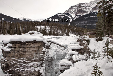 Athabasca Falls In Winter Jasper Alberta Canada Stock Photo