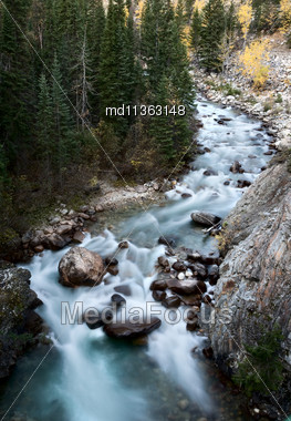 Athabasca River Rocky Mountains White Water Canada Stock Photo