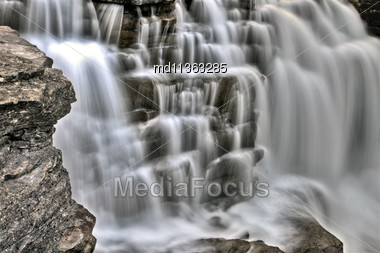 Athabasca Waterfall Alberta Canada River Flow And Blurred Water Stock Photo
