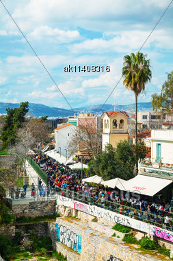 ATHENS - FEBRUARY 23: Street Of Athens With Tourists On February 23, 2014 In Athens, Greece. Athens Dominates The Attica Region And Is One Of The World's Oldest Cities, With Its Recorded History Spann Stock Photo