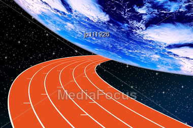Athletics Track In Perspective To A Planet Earth On A Background Of Night Sky Stock Photo
