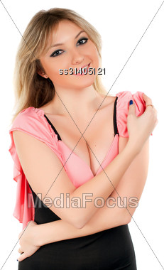Attractive Blond Woman Posing With Charming Smile. Isolated On White Stock Photo