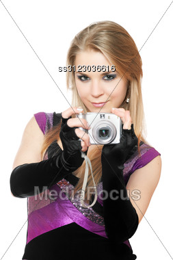 Attractive Blonde Holding A Photo Camera. Stock Photo