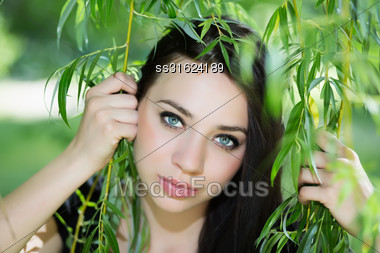 Attractive Caucasian Woman Posing In The Branches Stock Photo