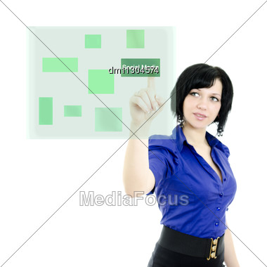 Attractive Executive Woman Pushing On A Touch Screen Interface. Isolated On White. Stock Photo
