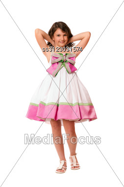 Attractive Little Girl In White And Pink Dress. Stock Photo