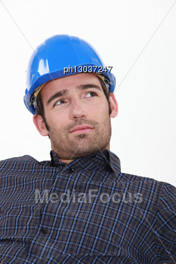 Attractive Man In A Hardhat Stock Photo