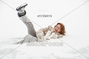 Attractive Red-haired Woman Having Fun In Winters Day Stock Photo