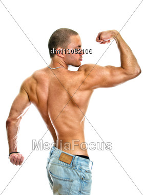 Attractive Shirtless Male In Jeans, Isolated On White Stock Photo