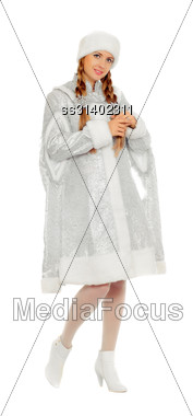 Attractive Smiling Snow Maiden. Isolated On White Stock Photo