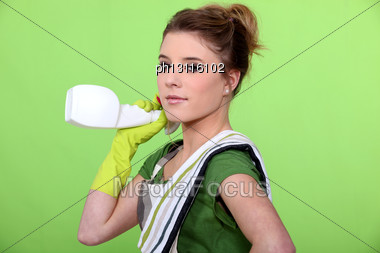 Attractive Woman Cleaning Stock Photo