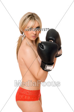 Attractive Young Blond Girl In Boxers Gloves Stock Photo