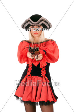 Attractive Young Blonde With Guns Dressed As Pirates Stock Photo